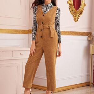Front Belted Corduroy Jumpsuit